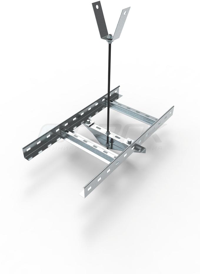 **Пример монтажа лестничного лотка СТ с использованием траверса СПШ и подвеса на шпильке СКТ**