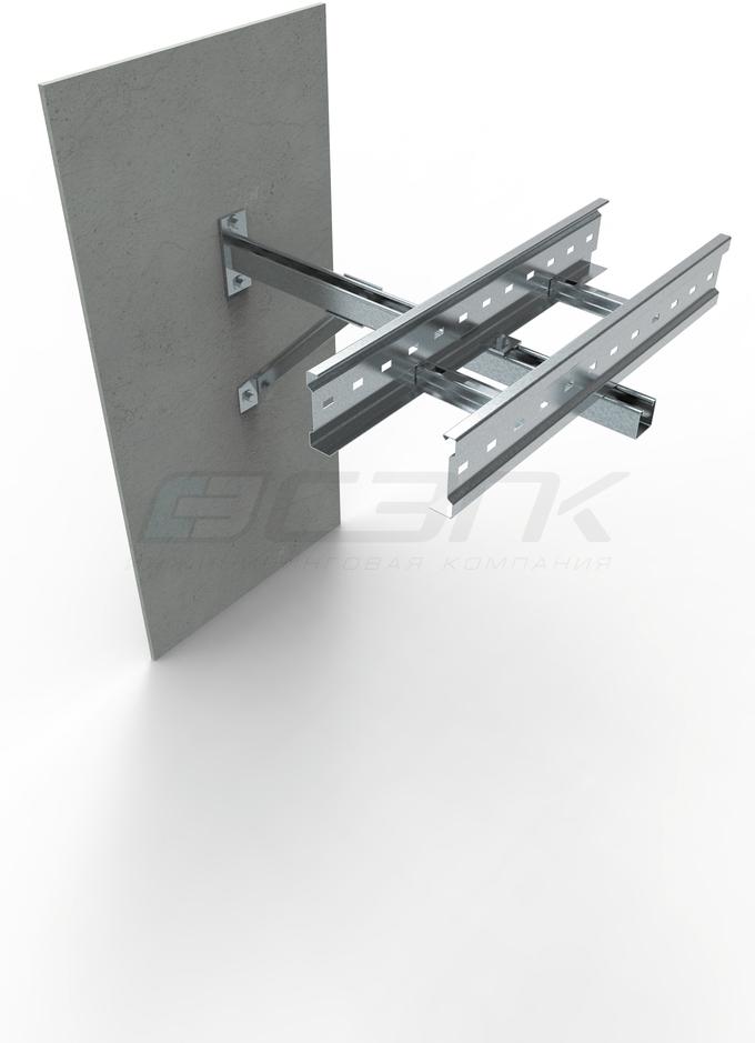 **Монтаж лотка лестничного типа серии СТ с применением консоли серии КН7 и и подпора консолей КНП**